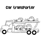 Car transporter of vector art. Hand draw Royalty Free Stock Photos