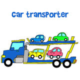 Car transporter of vector art. Hand draw Stock Image