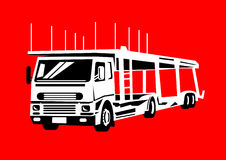 Car transporter vehicle hauler. Illustration of a car transporter isolated on red background Royalty Free Stock Image