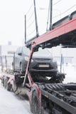 Car Transporter in winter time Stock Photos