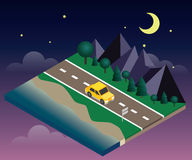 Car travaler on the road near the beach and forest. Moonlght night. Vector isometric icon representing traveling car on the road near the beach and forest Stock Photos