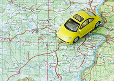 Car travel. Choose route on the map Stock Photo
