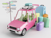 Car Travel. The car is prepared to travel on holiday Royalty Free Stock Images