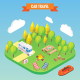 Car travel and camping isometric concept. Vector illustration in flat 3d style. Outdoor camp activity. Travel on camper.  Royalty Free Stock Photo
