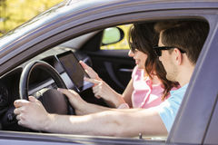 Car travel. Travel. Couple is traveling in the car Royalty Free Stock Images