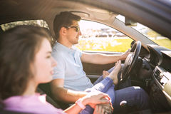 Car travel. Travel. Couple is traveling in the car Royalty Free Stock Image