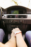 Car travel. Travel. Couple is traveling in the car Stock Photo