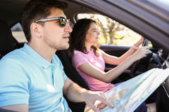 Car travel. Travel. Couple is traveling in the car Stock Photography