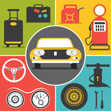 Car travel icons Stock Photography