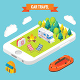 Car travel isometric objects on mobile phone screen. Vector illustration in flat 3d style. Outdoor camp activity in a. Park. Stay online everywhere concept Royalty Free Stock Image