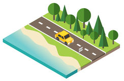 Car traveler on the road near the beach and forest. Vector isometric icon representing traveling car on the road near the beach and forest Stock Photography