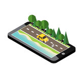 Car traveler on the road near the beach and forest. Vector isometric icon representing traveling car on the road near the beach and forest Stock Photos