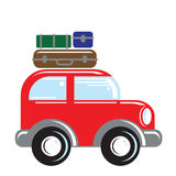 Car traveling. Stylized illustration of a of a car with luggage on top stock illustration
