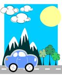 Car traveling greeting card Stock Photography