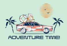 Car traveling illustration in retro 1980s style. Automobile trip concept. Vintage vehicle, palms and sun vector illustration