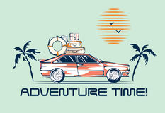 Car traveling illustration in retro 1980s style. Automobile trip concept. Vintage vehicle, palms and sun Stock Images