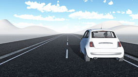 Car traveling a long way. A car traveling a long way in the middle of a desert Royalty Free Stock Images