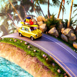 Car for traveling with a roof rack on a mountain road. 3d illustration Royalty Free Stock Image