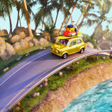Car for traveling with a roof rack on a mountain road. 3d illustration Stock Image
