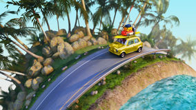 Car for traveling with a roof rack on a mountain road. 3d illustration Stock Images