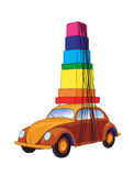 Car traveling (vector). Car on the road (cmyk to rgb Royalty Free Stock Photography