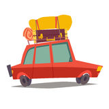 Car for traveling vector. Red car, vehicle transport with baggage. Car for family trip, side view Stock Photos