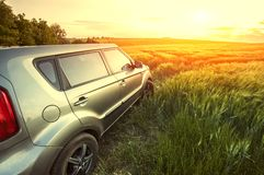 Vehicle on a nature field as  concept eco techno Royalty Free Stock Photography