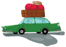 Car travels with a lot of luggage. Green car travels with a lot of luggage. Hand drawn cartoon illustration Stock Images