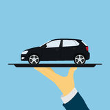 Car on tray. Picture of human hand holding tray with car, flat style illustration royalty free illustration