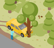 Car tree crash. Accident auto isometric danger, risk and transport, vector illustration Stock Images