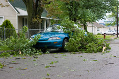 Car and Tree Limbs Storm Damage. A small car covered with downed tree limbs from the previous night's storm Stock Photography