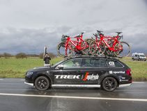The Car of Trek–Segafredo Team - Paris-Nice 2017 Royalty Free Stock Photography