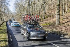 The Car of Trek-Segafredo Team - Paris-Nice 2017 royalty free stock images