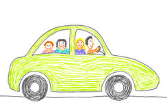 Car trip. Childs drawing happy family on the car trip. Father, mother, daughter and son Royalty Free Stock Photography