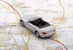 Car Trip. When a car trip is going to take place, the proper planning is necessary Stock Image