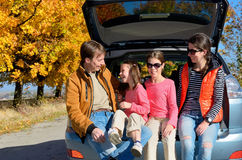 Car trip on autumn family vacation, happy parents and kids travel Stock Photography