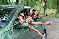 Car trip with friends stock image