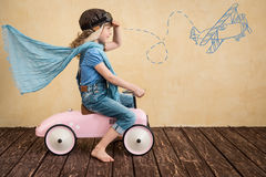 Car trip. Happy child playing at home. Car trip. Summer vacation and travel concept Royalty Free Stock Photos