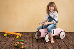 Car trip. Happy child playing at home. Car trip. Summer vacation and travel concept Stock Images