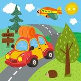 Car trip for outdoor recreation. Vector illustration, eps vector illustration
