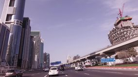 Car trip on the Sheikh Zayed Road with skyscrapers in Dubai stock footage video stock video footage