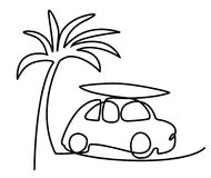 Summer holiday car trip one line drawing Stock Photos