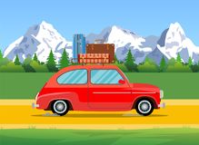 Car trip to camp, stock illustration