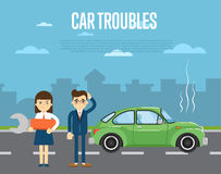 Car troubles banner with people near broken car Stock Photography