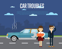 Car troubles banner with people near broken car Stock Photo