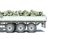 Car truck with money isolated on white background.  Stock Image