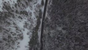 Car and truck moving on winter road through snowy forest aerial view. Car and truck moving on winter road through snowy forest. Drone view car driving on winter stock footage