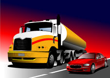 Car and truck on the road Royalty Free Stock Photos