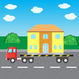 The car truck transports house Royalty Free Stock Image