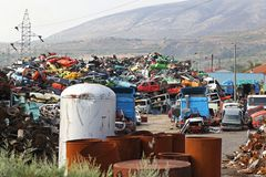 Car scrap yard Stock Photos